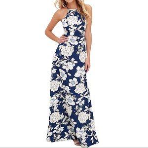 Coventavenue - Halter Cutout Back Maxi Gown Dress